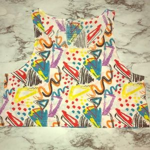Forever 21 Crop Top with Graphic Multicolor print